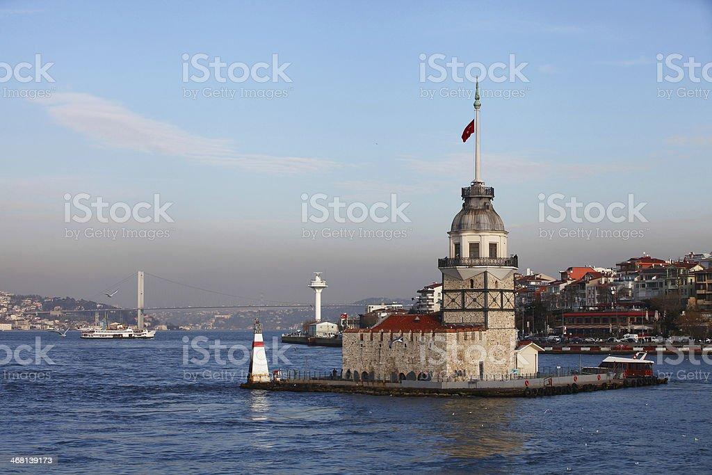 Maiden's Tower and Bosphorus Bridge stock photo