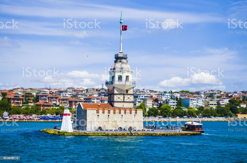 Maiden's Tower and Bosphorus stock photo