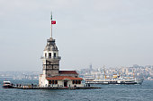 Maidens Tower and passenger ferry of Istanbul