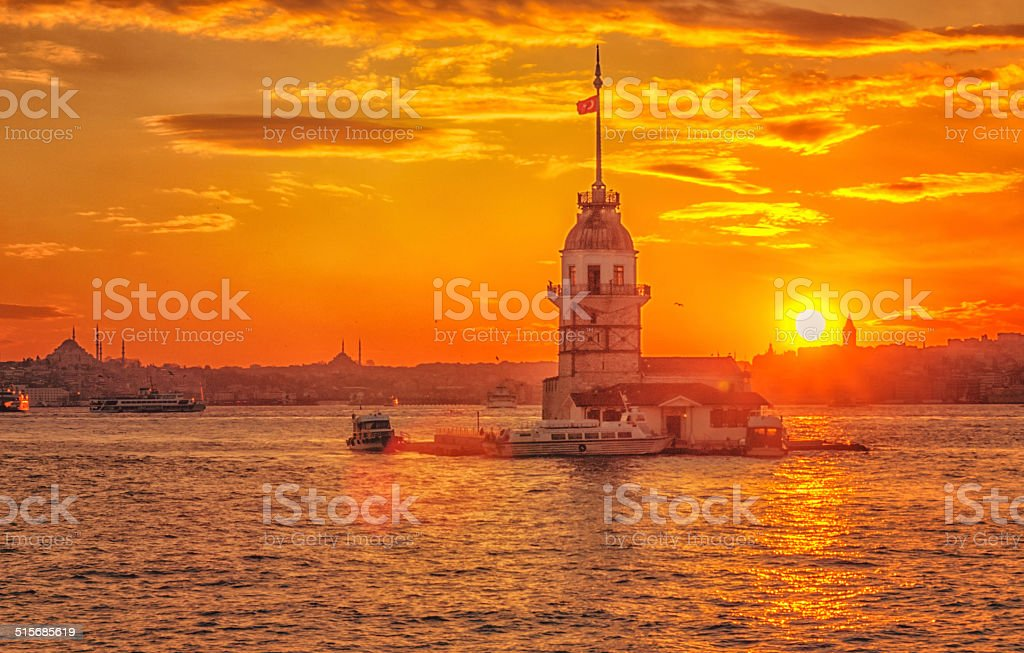 Maiden's Tower and sunset stock photo