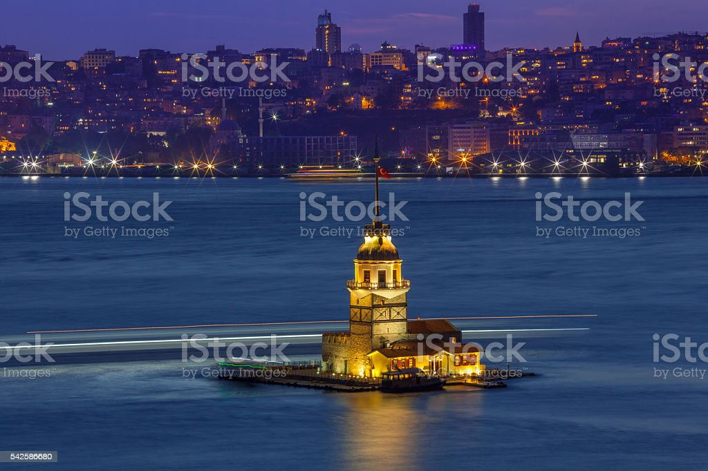 Maiden's Tower at night stock photo