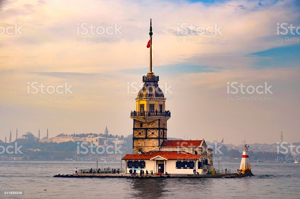 Maiden's Tower at the southern entrance of the Bosphorus stock photo