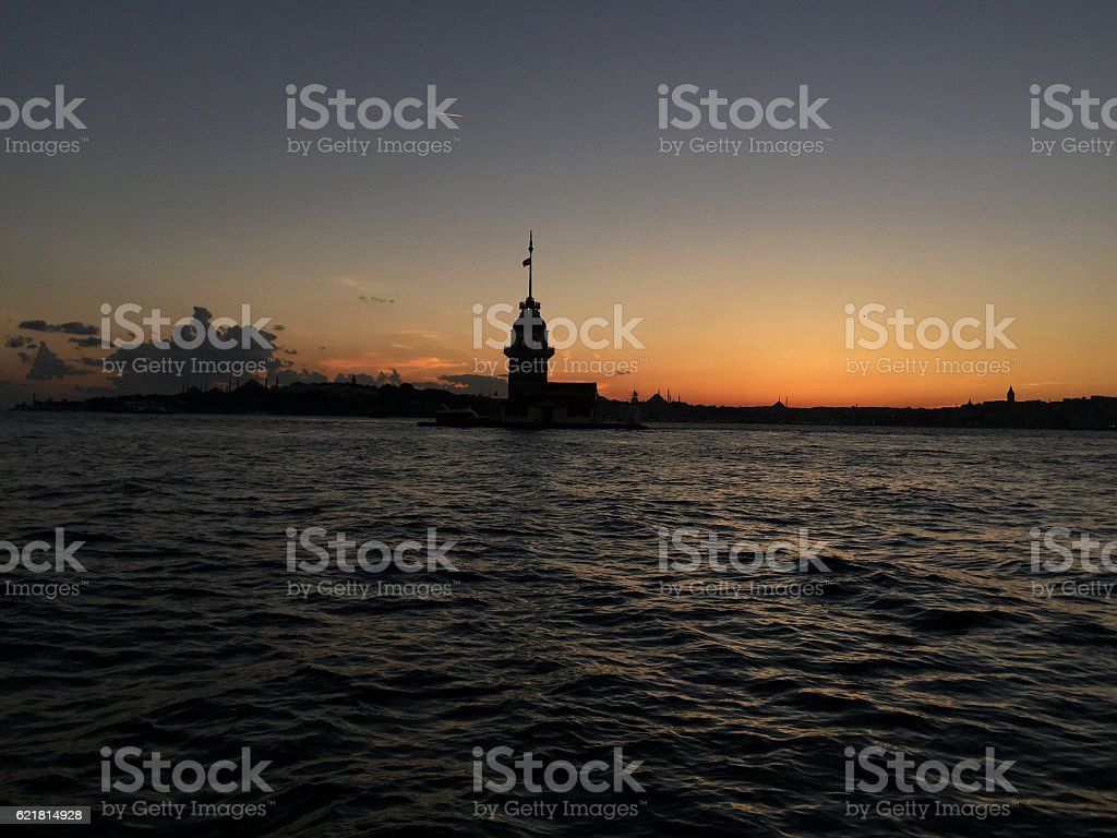 Maidens Tower during sunset in Istanbul, Turkey. stock photo