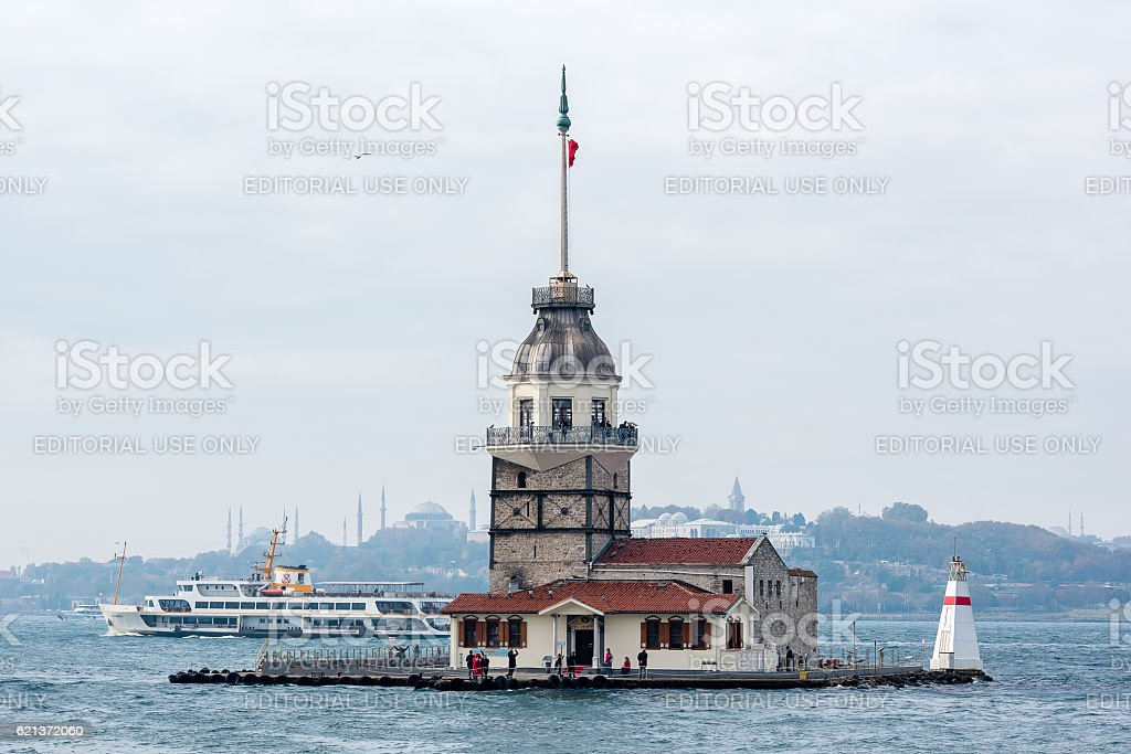 Maidens Tower Hagia Sophia and Passenger Ferry of Istanbul stock photo