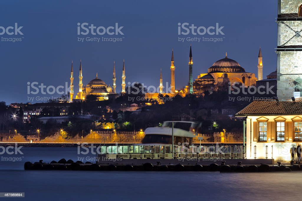 Maiden's Tower, Hagia Sophia and the Blue Mosque stock photo