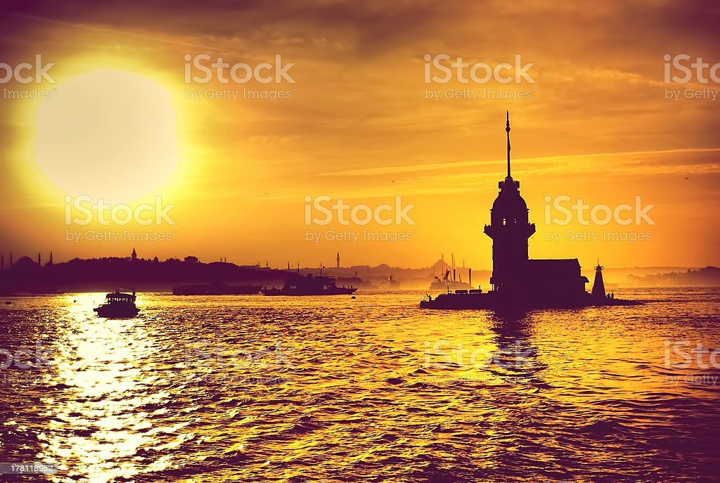 Maiden's Tower in Istanbul, Turkey stock photo