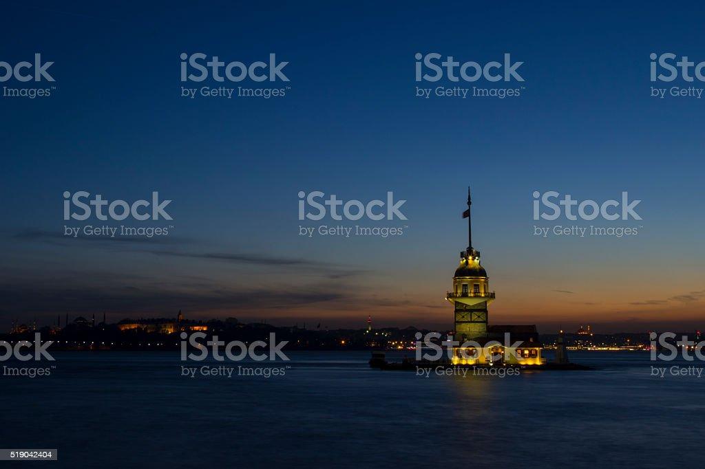 Maiden's tower in night stock photo