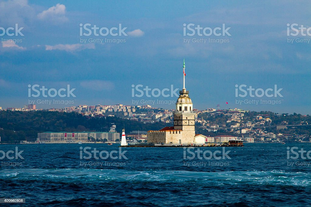 Maidens Tower, Istanbul, city and sea, blue sky with white stock photo