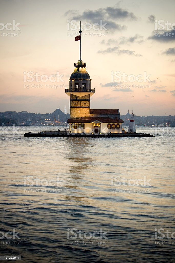 Maidens Tower Istanbul stock photo