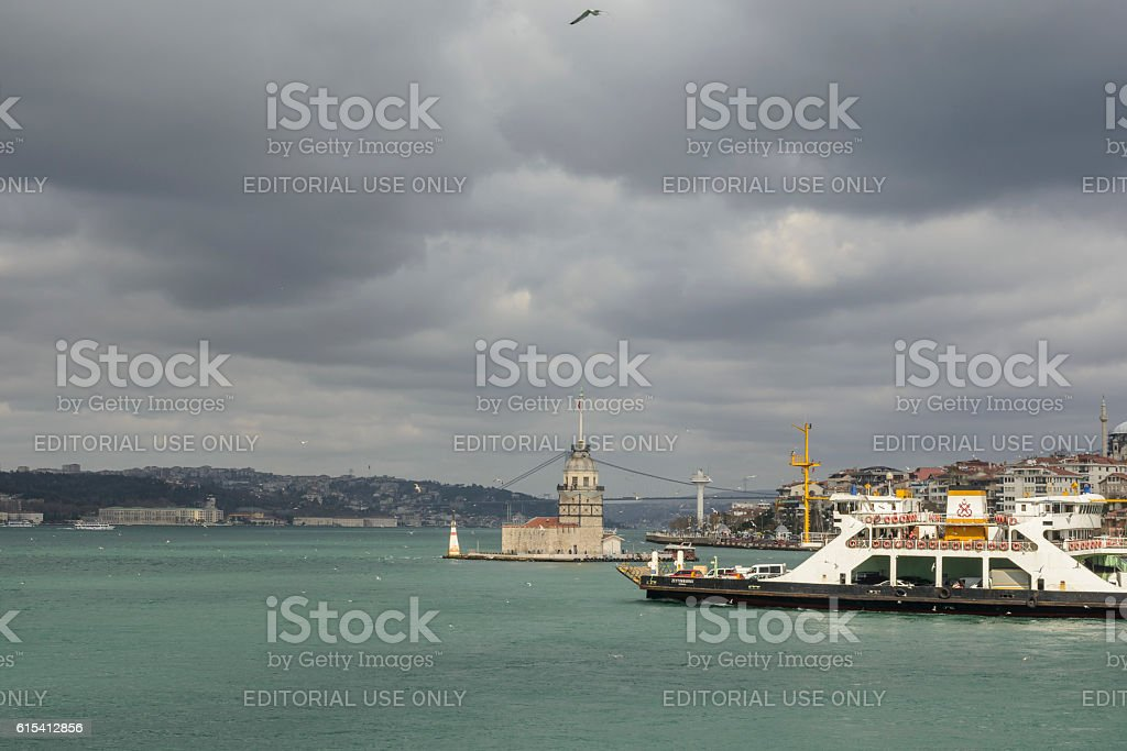 Maiden's Tower, Kiz Kulesi, or Leander's Tower in Istanbul with stock photo