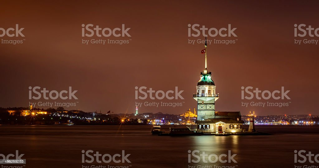 Maiden's Tower or Leander's Tower in Istanbul at night stock photo