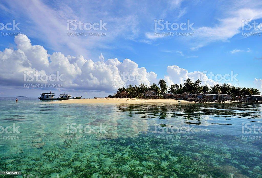 Maiga Island, Bajau Laut village in Sabah Borneo Malaysia. stock photo