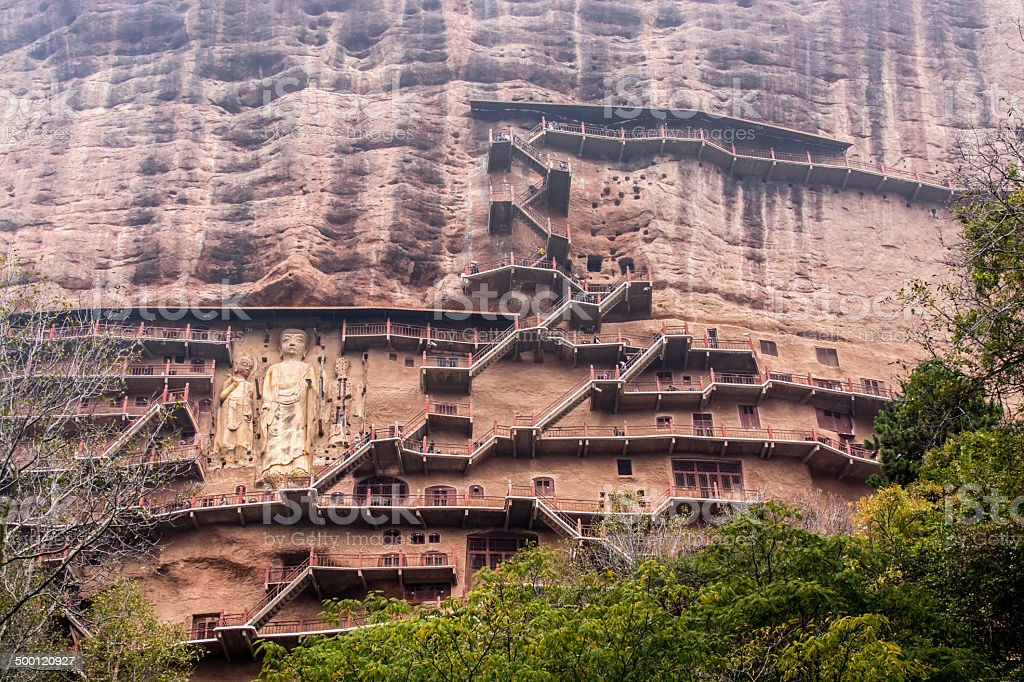 Maiji mountain grottoes stock photo