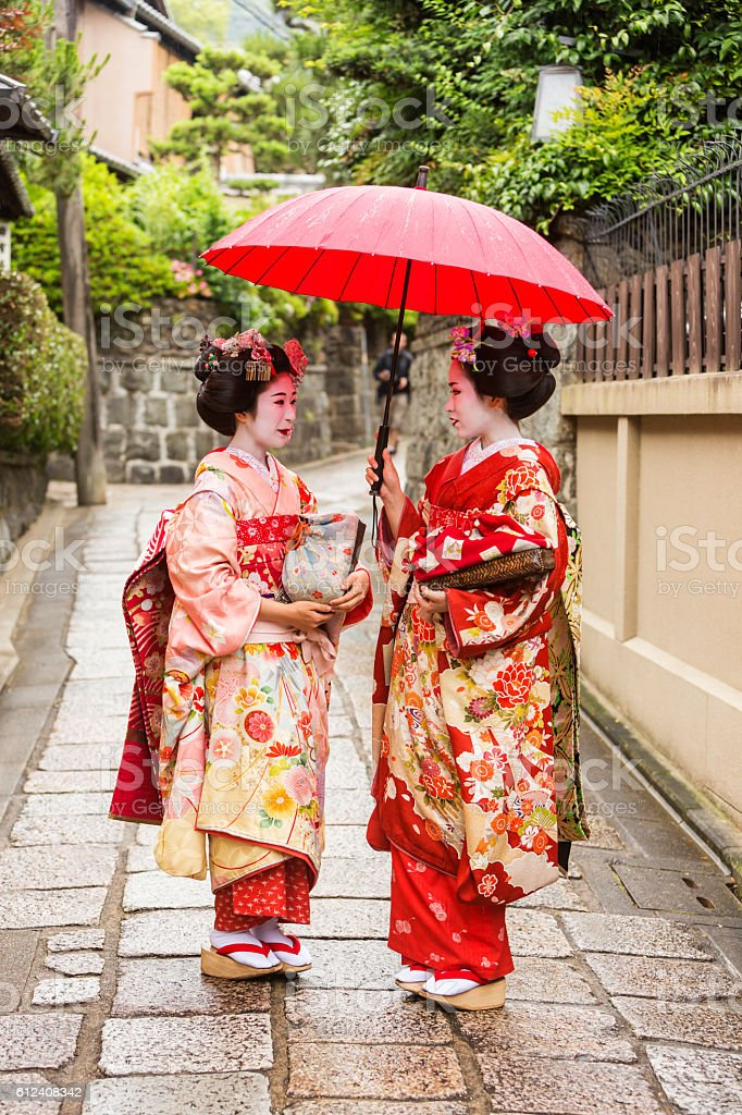 Maiko Apprentice Geisha Japanese Women In Traditional Kimonos stock photo