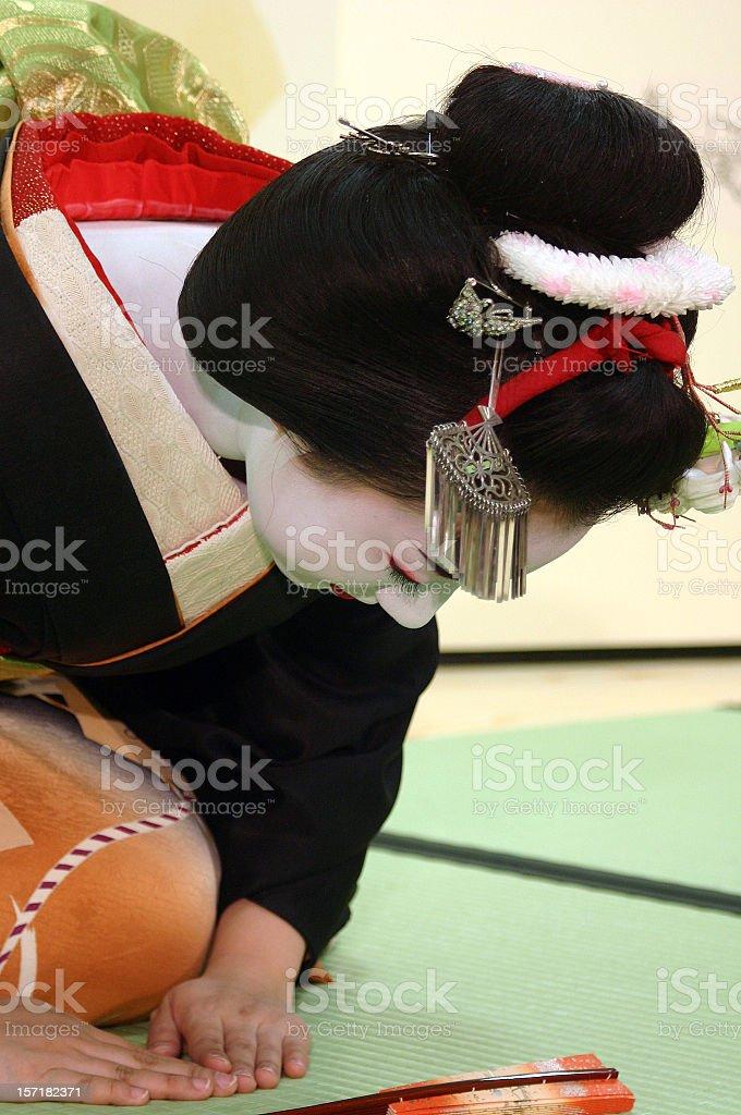 Maiko - apprentice geisha's bow royalty-free stock photo