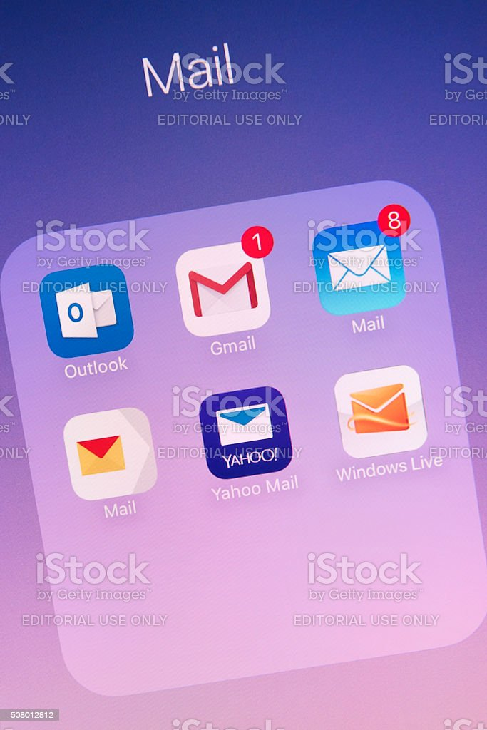 Mail Apps on Apple iPhone 6s Plus Screen stock photo