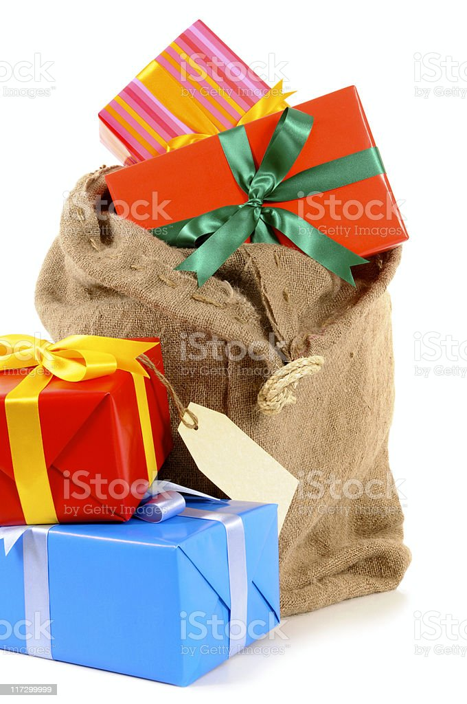 Mail bag with gifts royalty-free stock photo