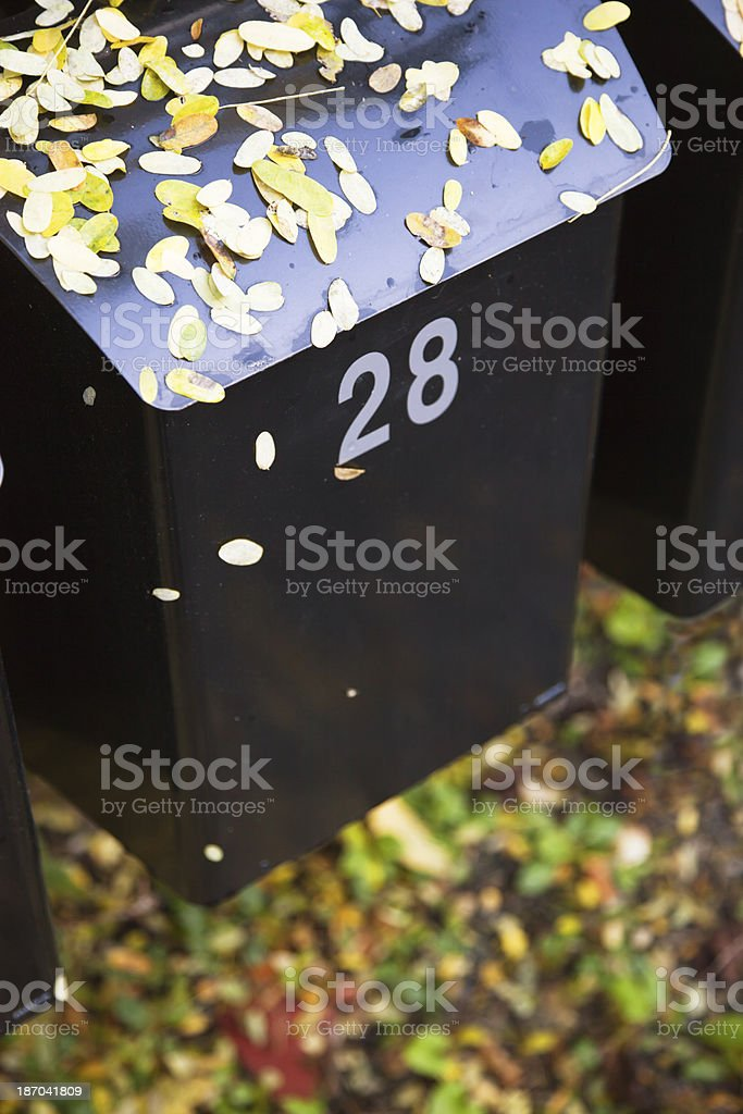 Mail box in fall. stock photo
