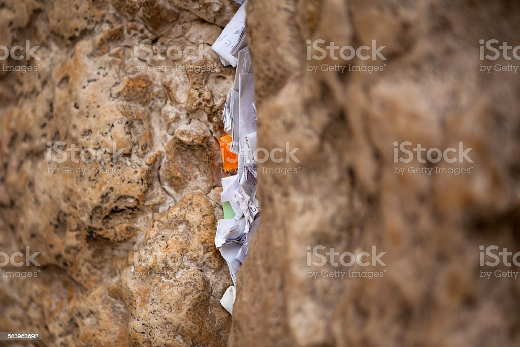 Mail box of God in western wall stock photo