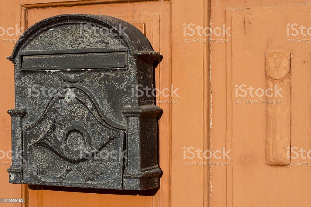 Mail box on door stock photo