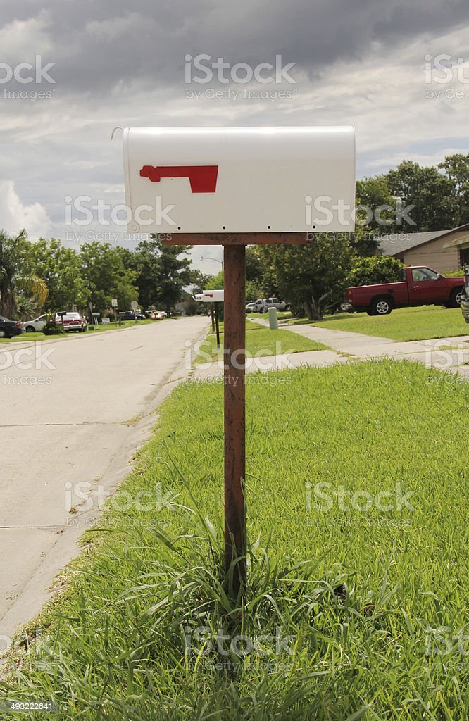 mail box sign stock photo