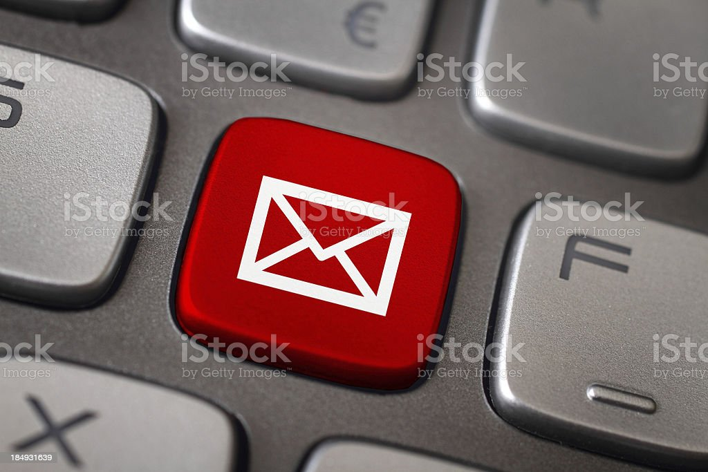 Mail button stock photo