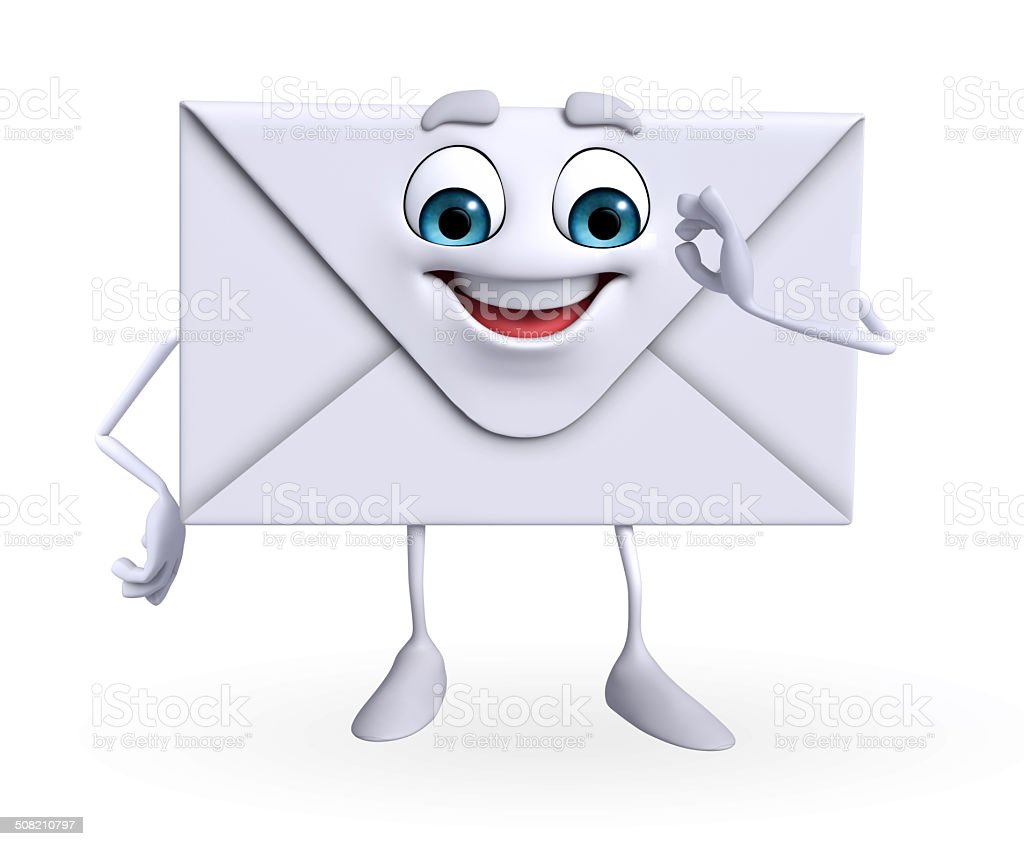 Mail Character is happy stock photo