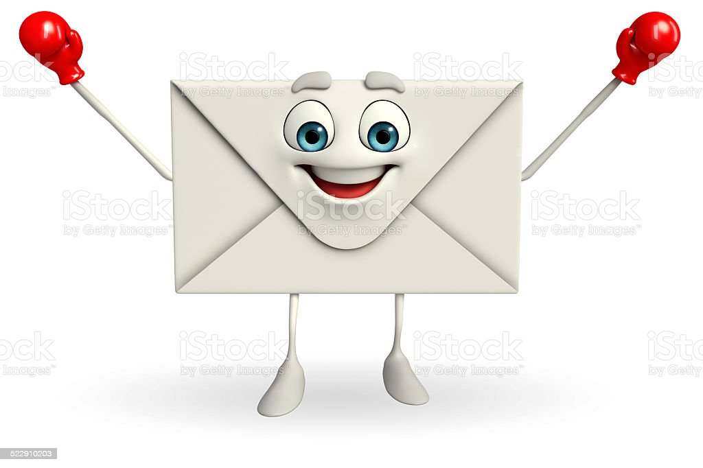 Mail Character with Boxing Gloves stock photo