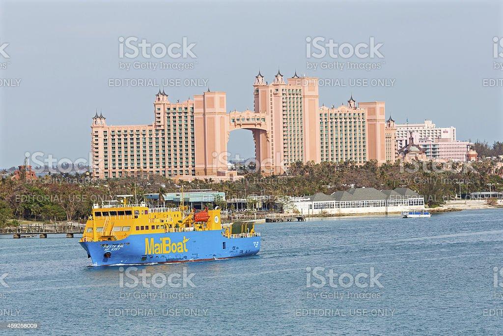Mail Delivery Boat Paradice Island Bahamas stock photo