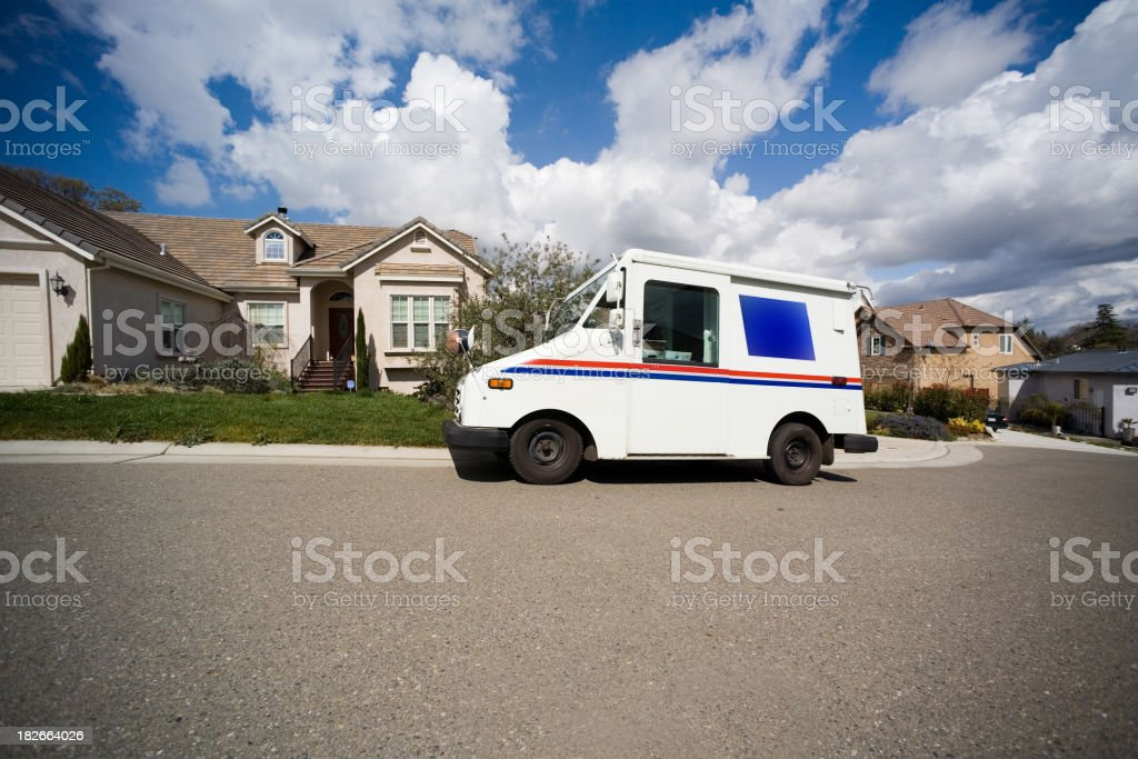 Mail Delivery into the Neighborhood stock photo