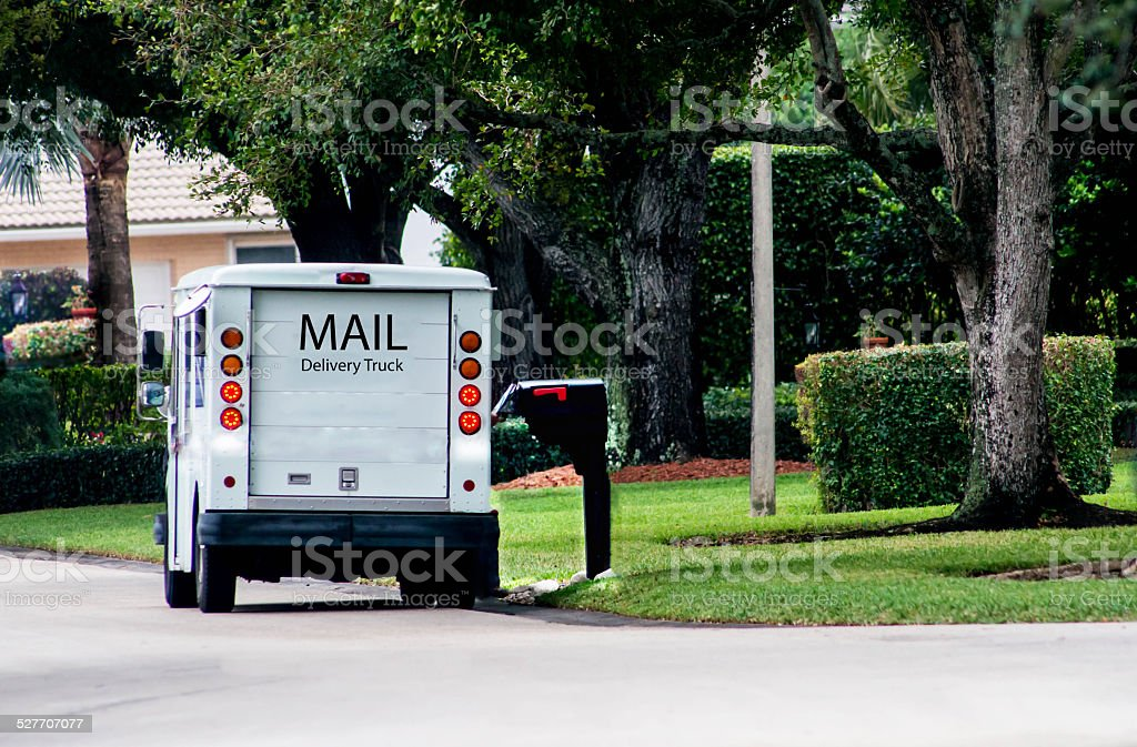 Mail Delivery Truck stock photo