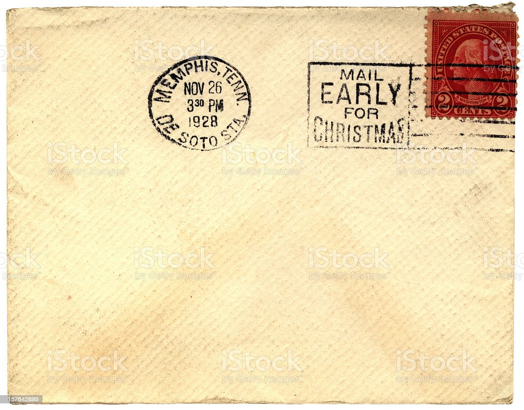Mail early for Christmas envelope sent from Memphis, Tennessee 1928 royalty-free stock photo