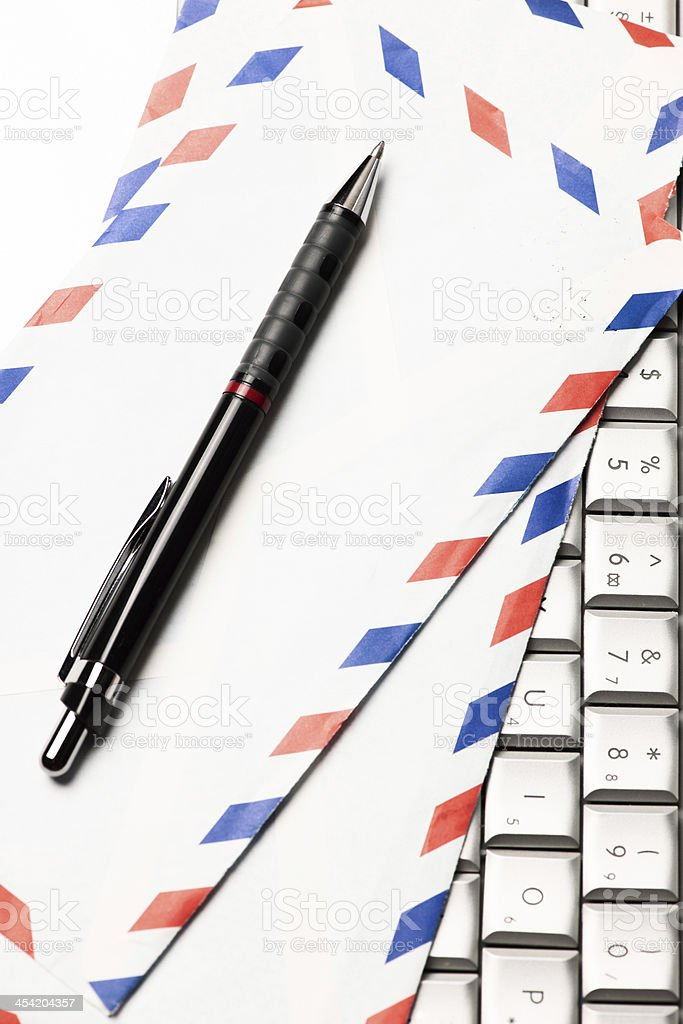 Mail Envelope on Laptop with Pen royalty-free stock photo