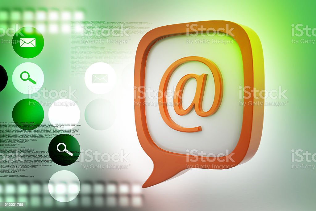 E mail icon in speech bubble stock photo