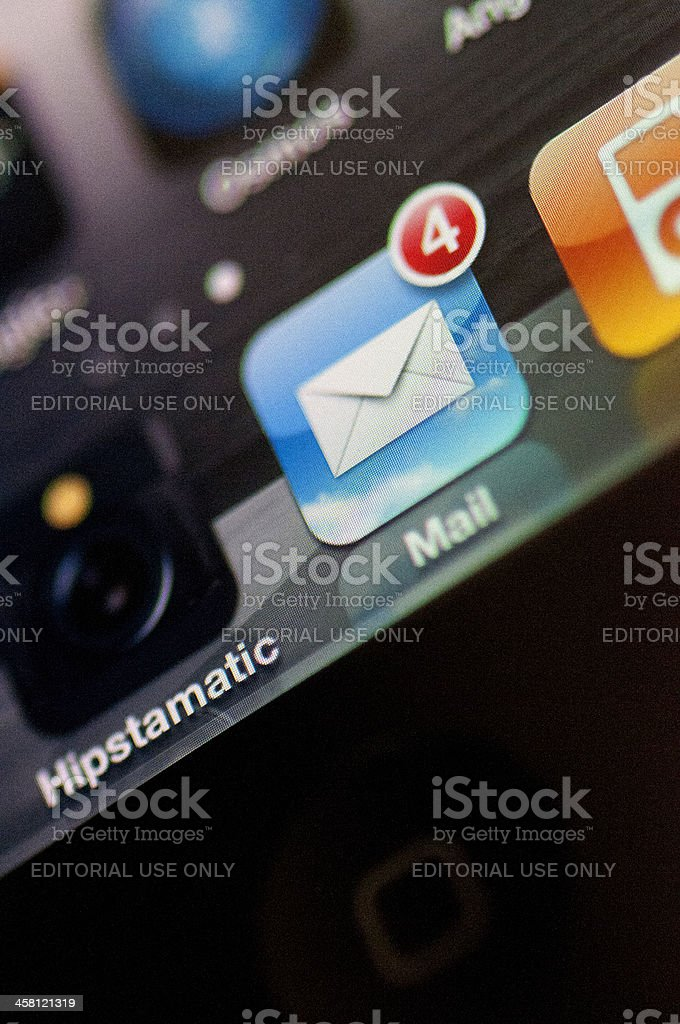 Mail icon on an iphone stock photo