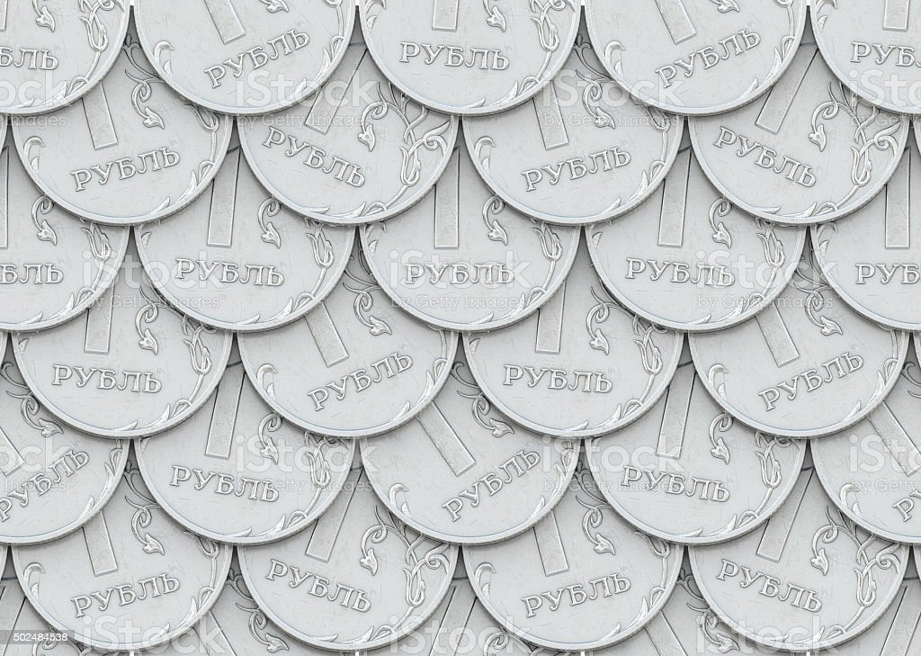 Mail of coins in one ruble stock photo
