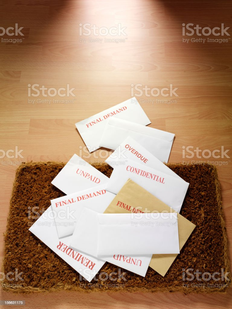 Mail on a Wooden Floor royalty-free stock photo