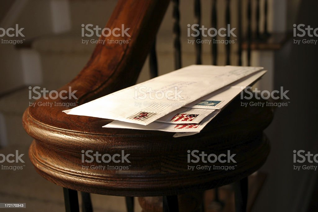 Mail on Banister stock photo
