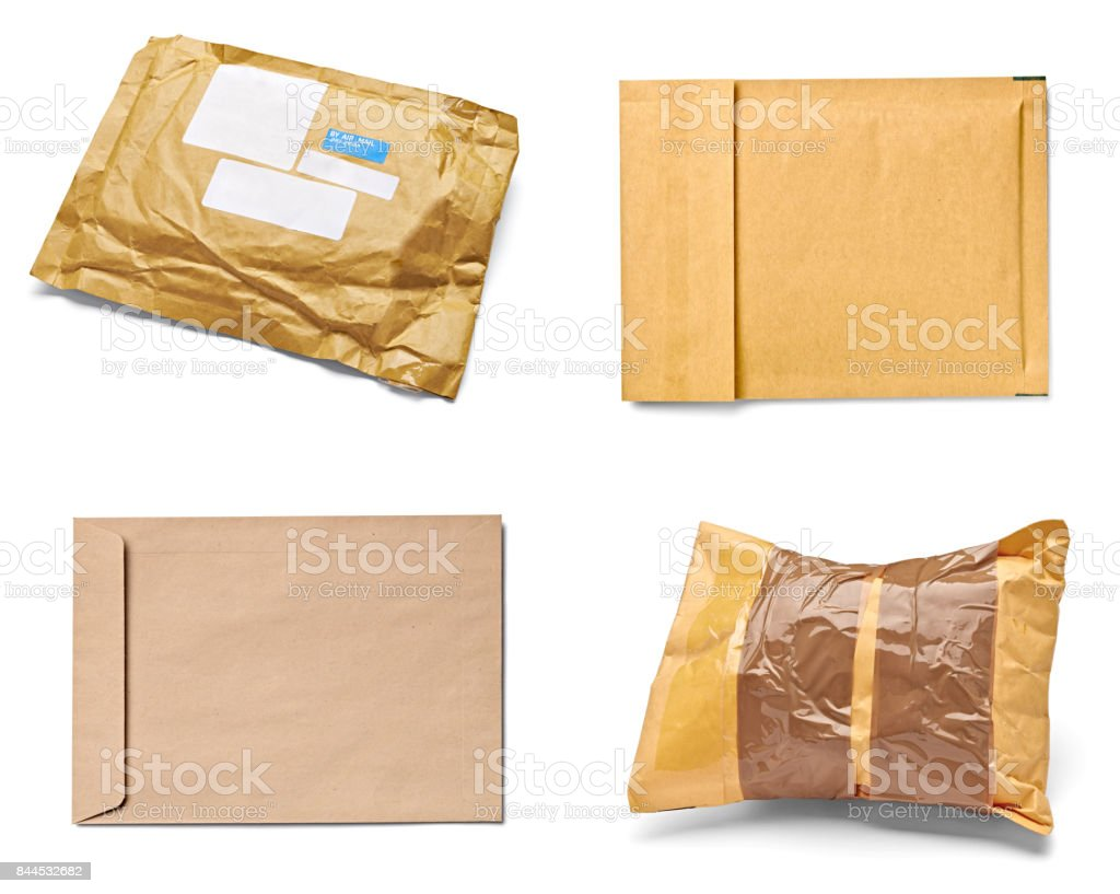 mail package envelope box used open postal stock photo