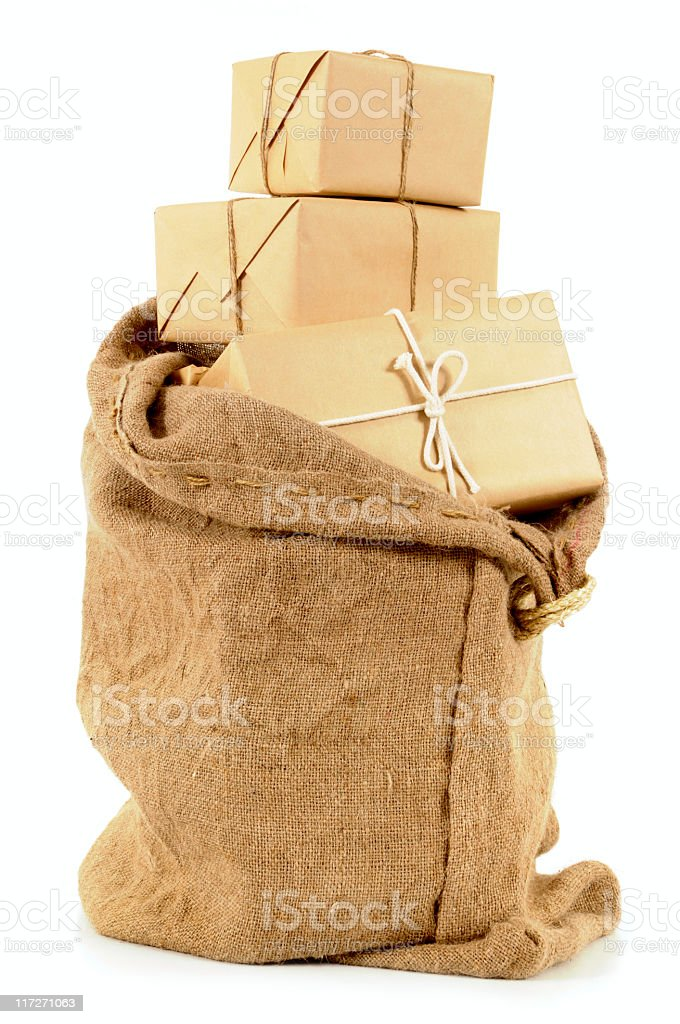 Mail sack with wrapped packages royalty-free stock photo