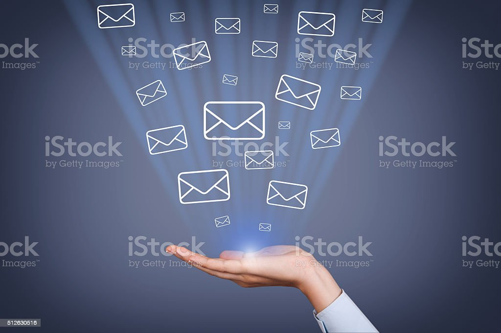 Mail Sending on Visual Screen stock photo