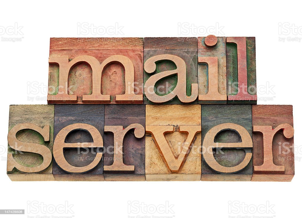 mail server text in wood type royalty-free stock photo
