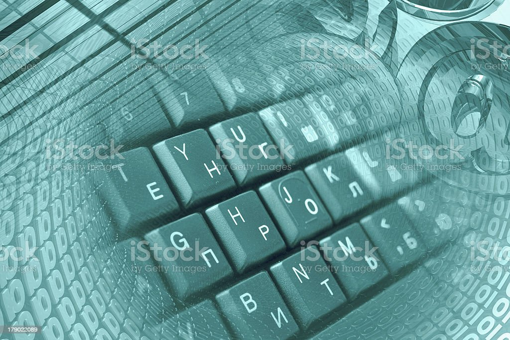 Mail signs and keyboard royalty-free stock photo