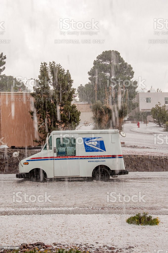 U.S. Mail Truck Endures Hail, Severe Weather During El Nino stock photo