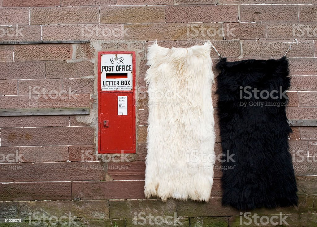 Mailbox and sheepskins royalty-free stock photo