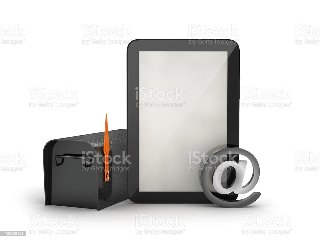 Mailbox and tablet computer royalty-free stock photo