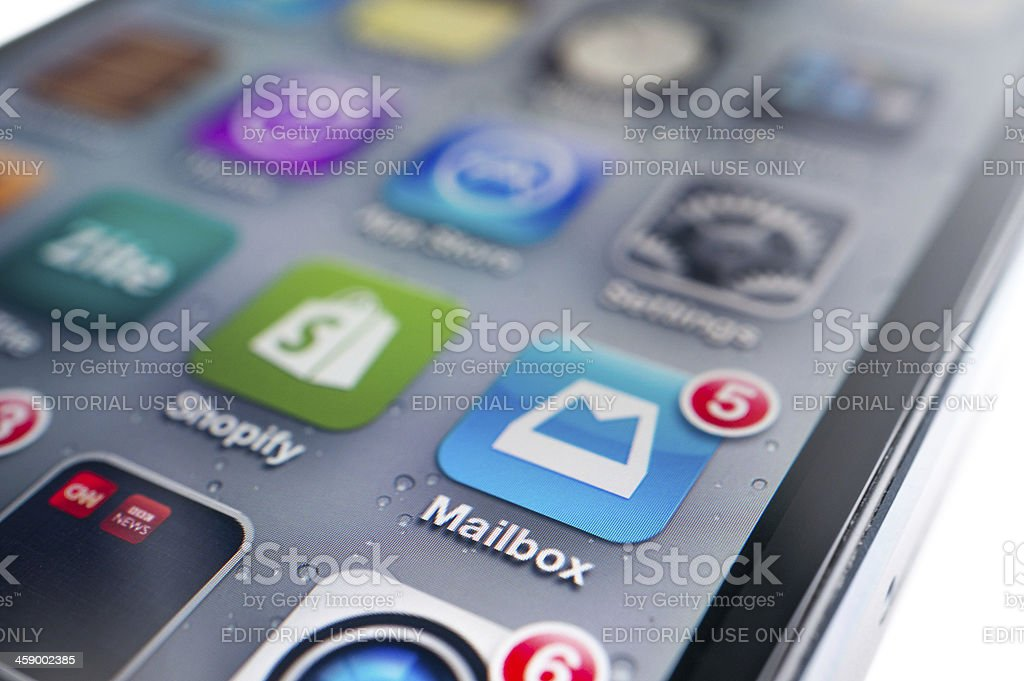 Mailbox Application on iPhone royalty-free stock photo