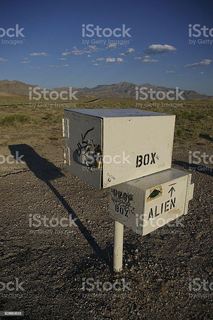 Mailbox for aliens in desert stock photo