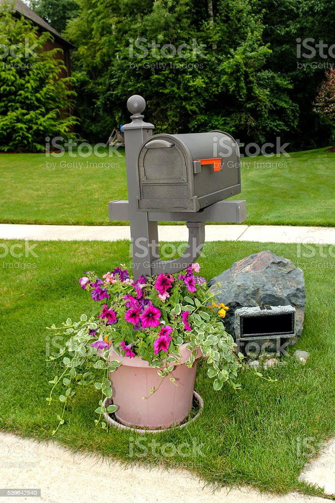 US Mailbox in a residential neighborhood stock photo