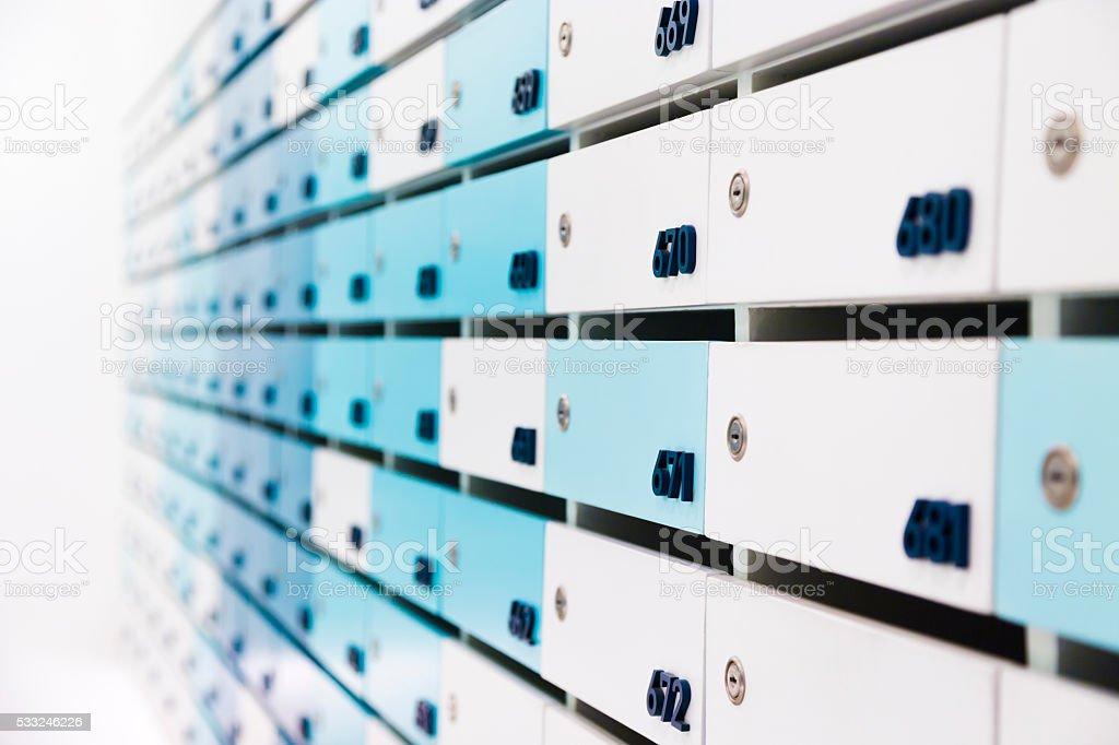 Mailbox in condo stock photo